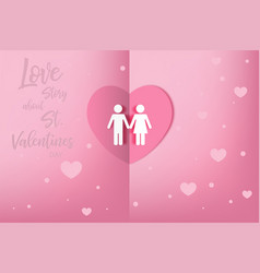 love story about st valentines day invitation vector image