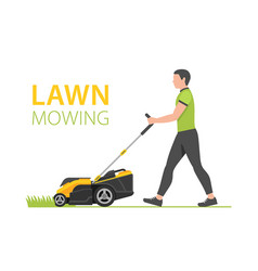 Man with yellow lawn mower vector