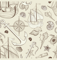 Marine life seamless pattern sailing ship vector