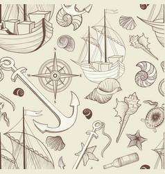 Marine life seamless pattern sailing ship vector