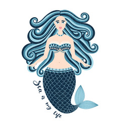 mermaid hand drawn sea girl woman with tail vector image