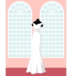 Mermaid wedding dress on mannequin in saloon vector