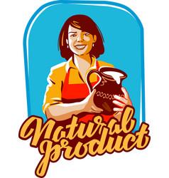 Milk logo milkmaid or farm farming icon vector
