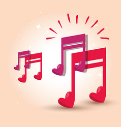 musical note with heart to rhythm sound vector image
