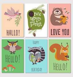 Once upon forest cards collection cute animals vector