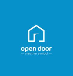 Open door creative symbol concept home button vector