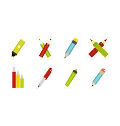 pen icon set flat style vector image