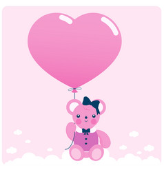 pink teddy bear and balloon vector image