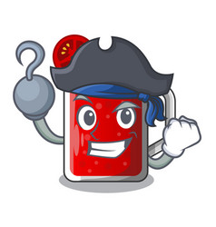 Pirate character beverage healthy sweet tomato vector