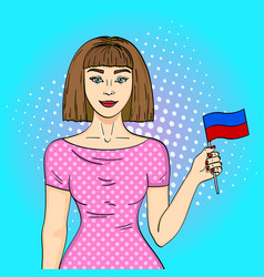pop art young beautiful girl holding a flag of the vector image