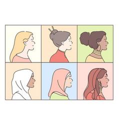 portraits women set concept vector image