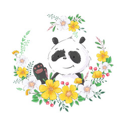 Postcard poster cute little panda in a wreath of vector