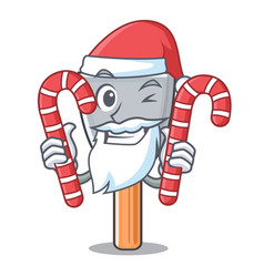 Santa with candy vintage putty knife on mascot vector
