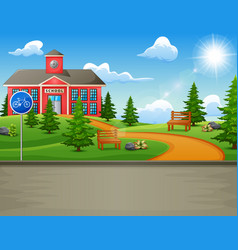 School building with a beautiful nature vector
