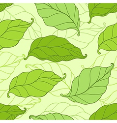 seamless pattern with green spring leaves vector image