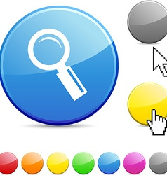 Searching glossy button vector image
