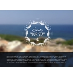 Seaside blurred background with designed text vector