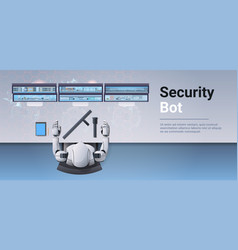 Security guard bot looking monitor screen robot vector