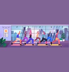 Senior people group doing squats on step platform vector