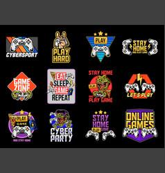 Set collection video game apparel designs vector