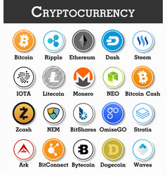 set cryptocurrency icon vector image