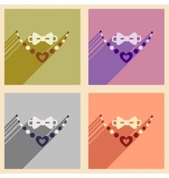 Set flat web icons with long shadow necklace and vector