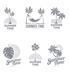 Set of black and white logo templates with palm vector