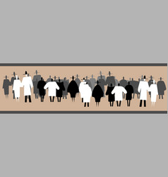 silhouettes of standing large group of people vector image