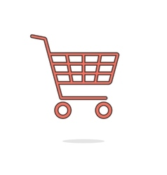 simple red shopping cart with shadow vector image