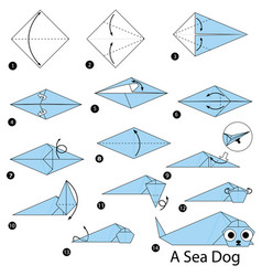 Step instructions how to make origami a sea dog vector