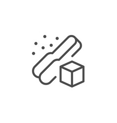 Sugar cube and tongs line outline icon vector