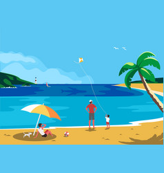 Summer holidays family travel vector