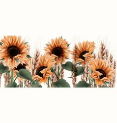 Sunflower watercolor background vintage rustic vector