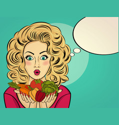 Surprised pop art woman that holds vegetables vector