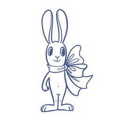 The easter bunny with a big ribbon vector