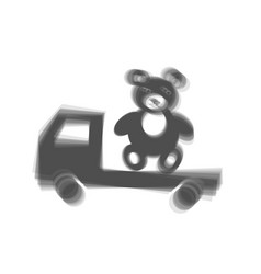 Truck with bear gray icon shaked at white vector