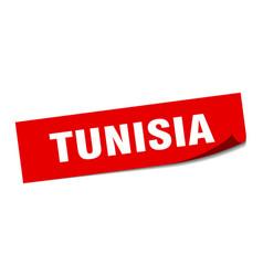 Tunisia sticker tunisia red square peeler sign vector