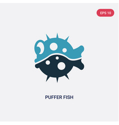 Two color puffer fish icon from animals concept vector
