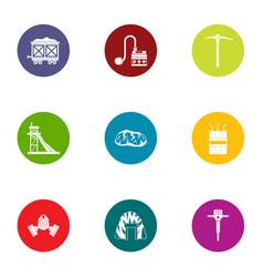 underground work icons set flat style vector image