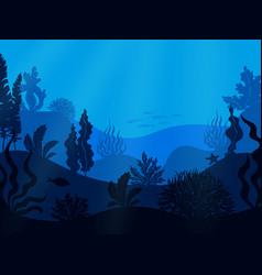 underwater seabed deep ocean seascape undersea vector image