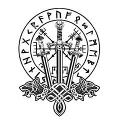 viking wolf sword vector image