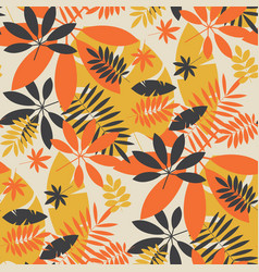 vintage color jungle foliage seamless pattern vector image