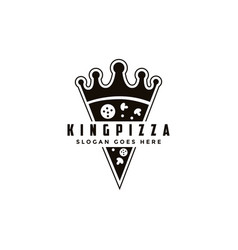 vintage retro logo pizza and crown vector image
