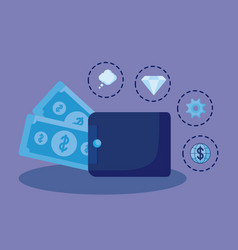 wallet money with set icons economy finance vector image