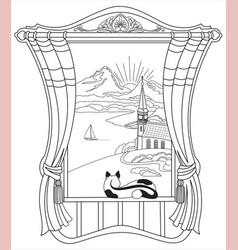window with a cat with a mountain landscape vector image