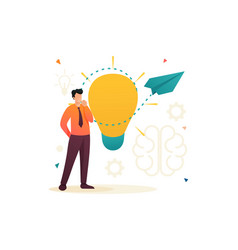Young man launches a business idea flat 2d vector