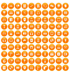 100 headphones icons set orange vector image