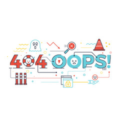 404 oops word for internet website page not found vector image