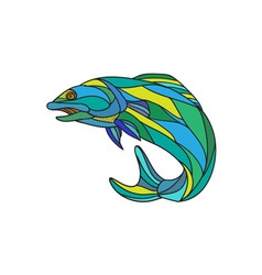 Atlantic salmon jumping drawing vector
