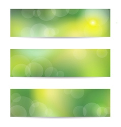 Green banner set vector image